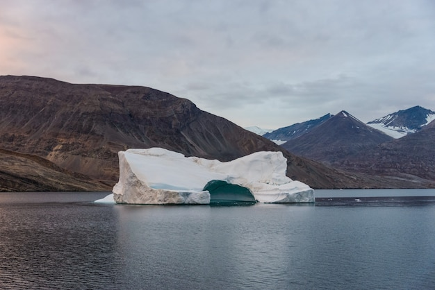 美しい色の山々とアイスバーのあるグリーンランドの風景