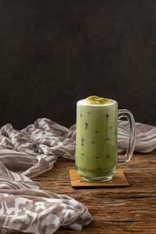 Greentea matcha latte cold beverage drink freshness