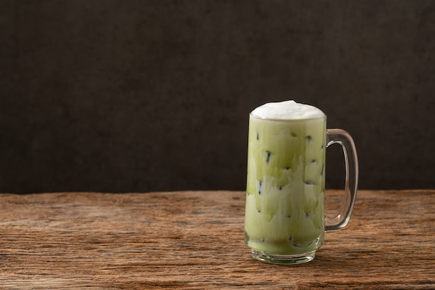 Greentea matcha latte cold beverage drink freshness