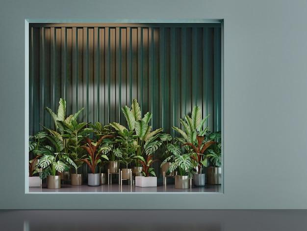 Гринволл с тропическим растением