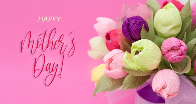 Greeting banner with colorful bouquet of paper tulips and the inscription happy mothers day
