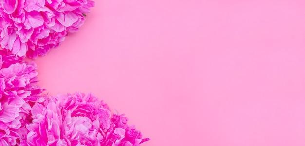 Фон баннера поздравительной открытки, нежные розовые пионы на розовом фоне с копией пространства с выборочным фокусом Premium Фотографии