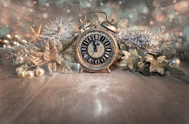 Greeting card, happy new year 2016!, with vintage clock showing