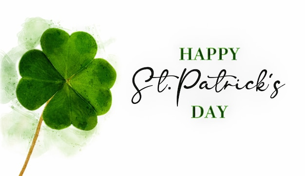 Greeting card for st patrick's day with a four-leaf clover and happy wishes