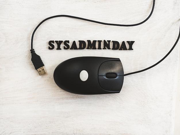 Greeting card for sysadmin day. white background