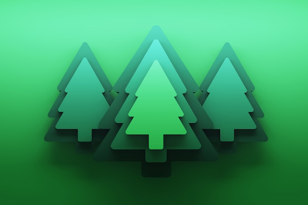 Greeting card with green christmas trees over green