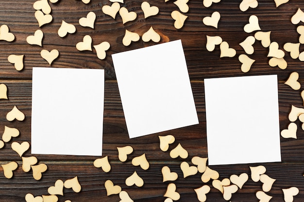 Greeting card with hearts on a old wooden background. valentine's day