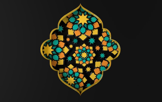 Greeting card with intricate arabic paper graphic of islamic geometric art.