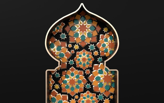 Greeting card with intricate arabic paper graphic of islamic geometric art