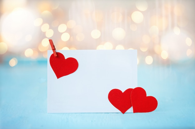 Greeting card with a red hearts