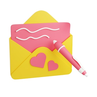 ハートとペンの3dレンダリングイラスト付きのサインイン封筒付きグリーティングカード。バレンタインデーの誕生日おめでとうまたは白い背景で隔離の招待状。愛を込めて送られたポストカード。