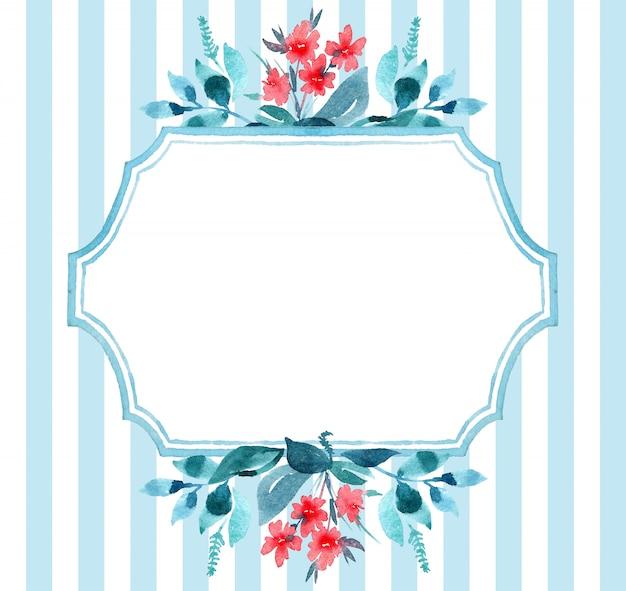 水彩イラストのグリーティングカード。葉と青と赤の花