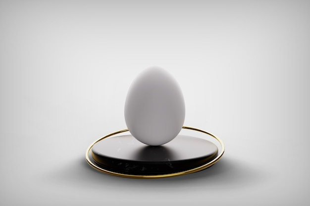 Greeting card with white easter egg over the black marble pedestal podium and gold ring