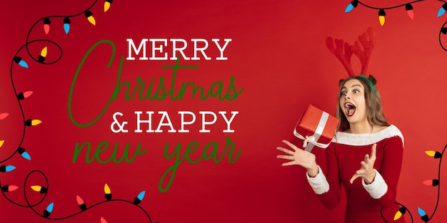 Greeting flyer for ad. concept of christmas, 2021 new year's, winter mood, holidays. copyspace, postcard.