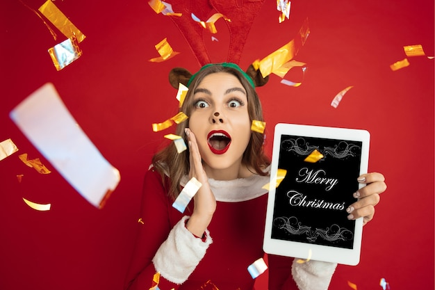 Greeting flyer for ad. concept of christmas, new year's, winter mood, holidays. copyspace, postcard.