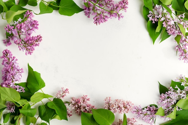 Greeting frame from fresh lilac flowers with green leaves on a light grey marble background. top view.