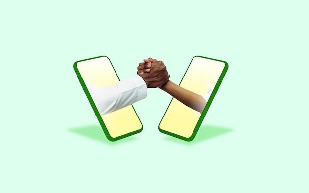녹색 배경에 대해 휴대 전화 화면을 통해 몸짓 인사 손