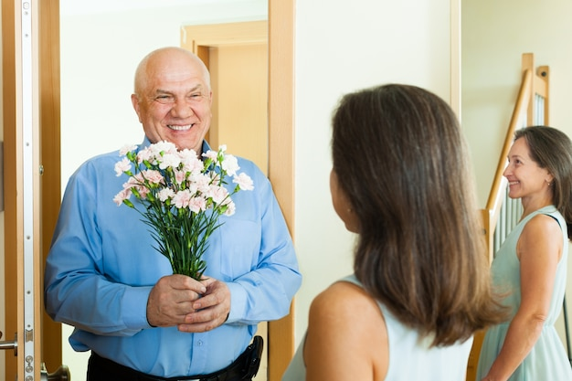 Greeting of loving mature couple