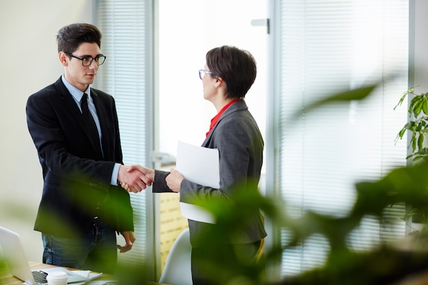 Greeting new manager