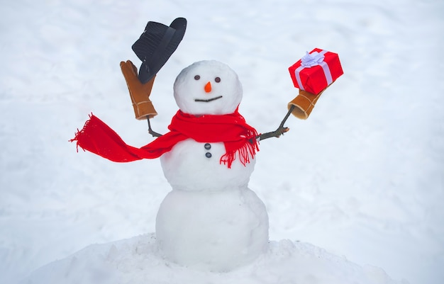 Greeting snowman with gift and hat