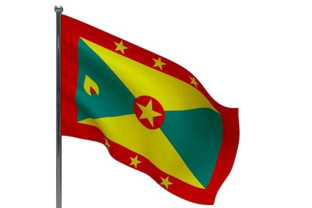 Флаг гренады на шесте. металлический флагшток. национальный флаг гренады 3d иллюстрация на белом