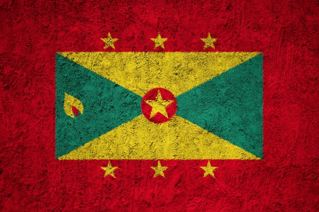Grenada flag painted on grunge wall