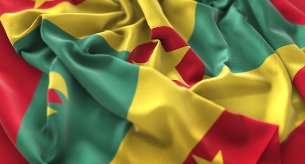 Grenada bandiera ruffled splendidamente sventolando macro close-up shot