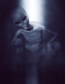 3d rendering di un alieno grigio in posizione rannicchiata in luce d'atmosfera