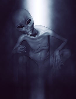 Grey alien in a crouching position