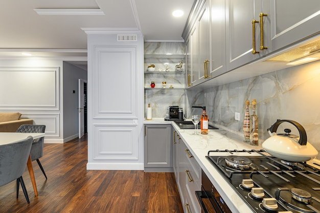 Серо-белый интерьер современной классической кухни выполнен в современном стиле и является частью однокомнатной квартиры.