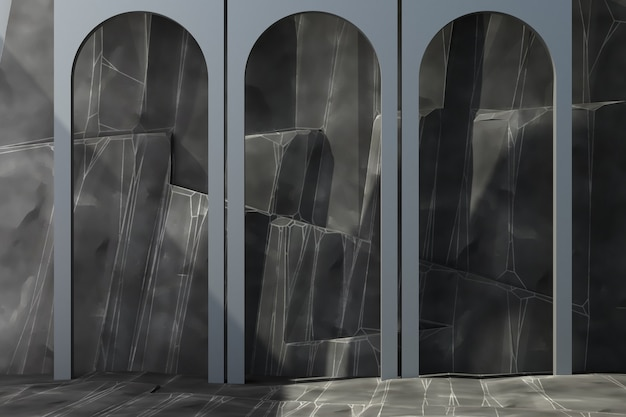 Grey arch with rock background and floor 3d rendering