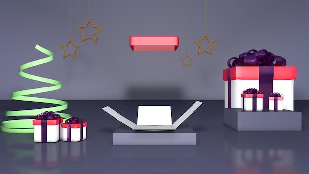 Серый фон открытая подарочная коробка рождество