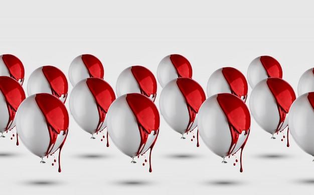 Серые воздушные шары в красной краске капает шаблон.
