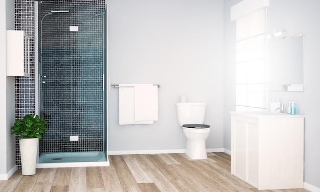 Grey bathroom with shower