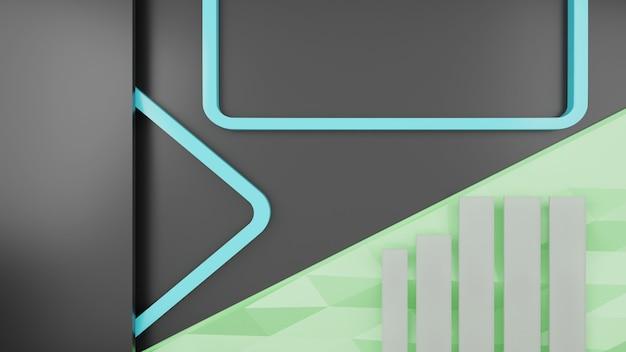 회색, 파란색 및 녹색 모양 추상적 인 배경 3d 렌더링