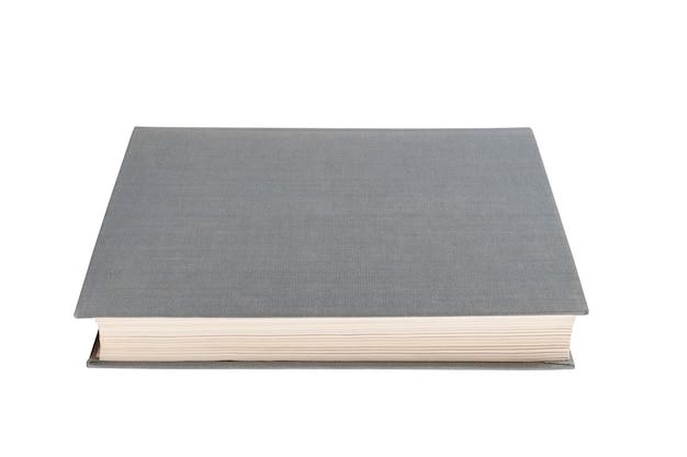 흰색 격리된 배경에 천으로 된 회색 책입니다.