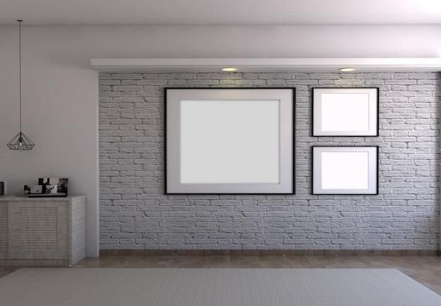 灰色のレンガの壁の部屋の背景