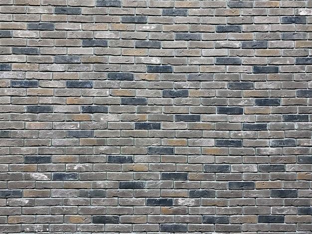 Серая кирпичная стена, широкая кладка, панорама, концепция строительства