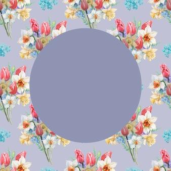 チューリップと水仙の花の花束のパターンの灰色の円