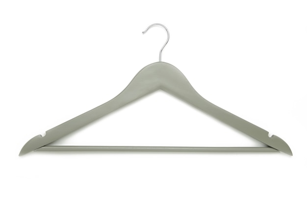 Grey coat hanger isolated on a white wall. top view
