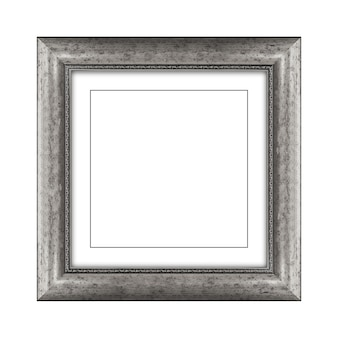 Grey color wooden frame for picture or photo isolated on a white background with clipping path