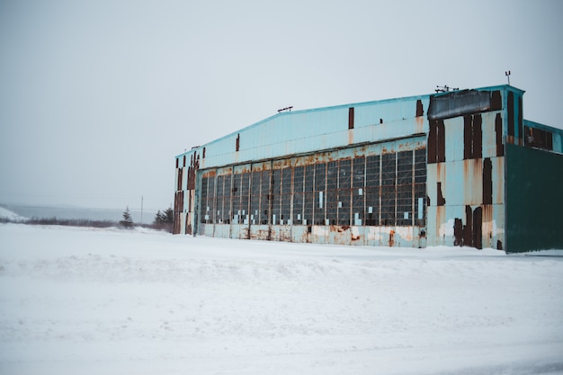 Grey concrete building in winter