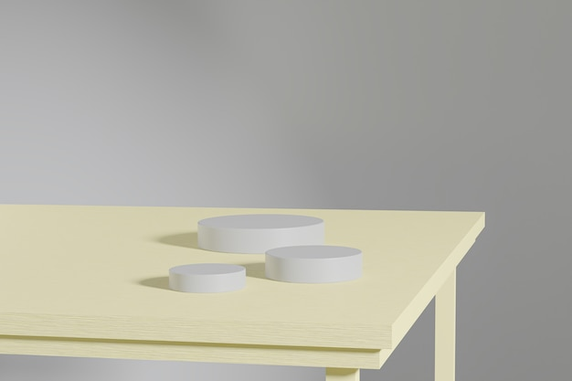 黄色の木製テーブルの製品用の灰色のシリンダースタンドまたは台座。最小限のスタイルでの3dレンダリング。