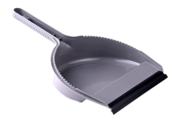 흰색 배경에 고립 된 회색 쓰레받기