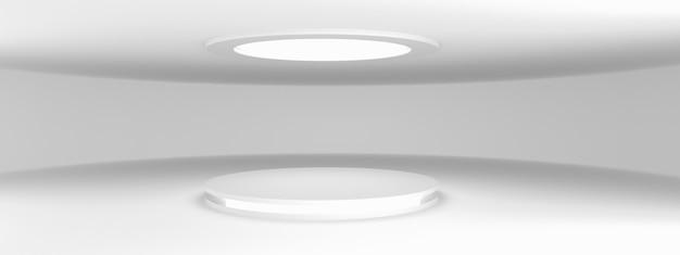 Серый пустой современный выставочный зал с пустым постаментом и светодиодной подсветкой, для демонстрации продуктов, 3d-рендеринга, панорамного макета