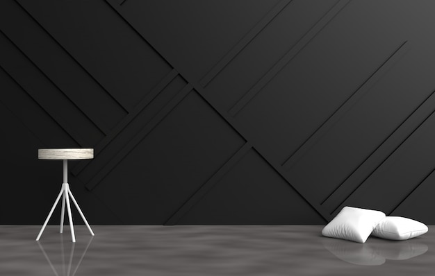 Grey empty room decor with white pillows, grey chair, black wood wall,cement floor. 3d ren
