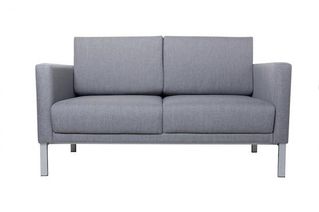 Grey fabric sofa isolated on white