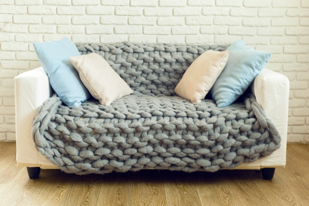 Grey knit giant plaid with pillows