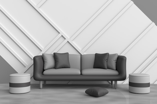 Grey living room decor with black sofa, black and grey pillows, grey chair. 3d render.