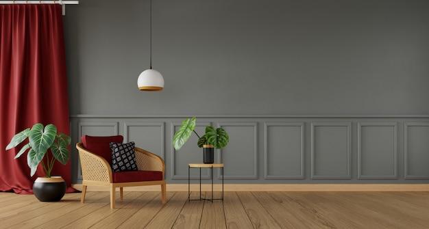 Серая гостиная с красным занавесом и ротанговым креслом